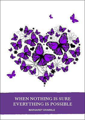 2017 -2018 diary purple butterfly heart with quote  A5