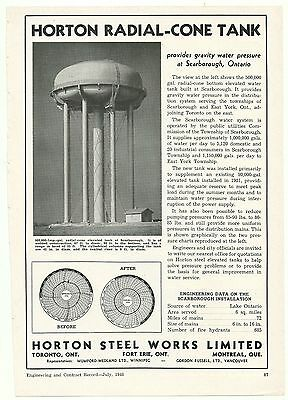 1948 HORTON STEEL WORKS Magazine Ad ~ SCARBOROUGH, ON. WATER TOWER Real Photo