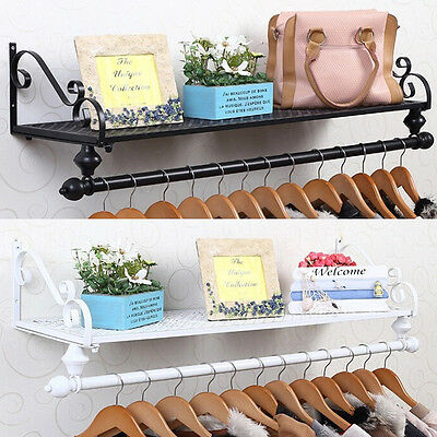 Shabby Chic Wall Mounted Clothes Garment Rail Hanging Rack Shop Display Metal