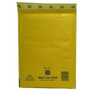 Mail Lite Bubble-Lined Postal Bag Peel and Seal Gold 180x260mm 100pk MLGD/1