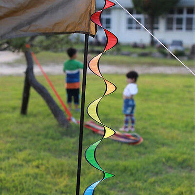 Foldable 140cm Rainbow Spiral Windmill Colorful Wind Spinner Tent Garden New