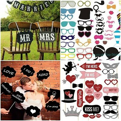 Photo Booth Party Wedding Christmas Props On Stick Masks Mustache Glasses Lips
