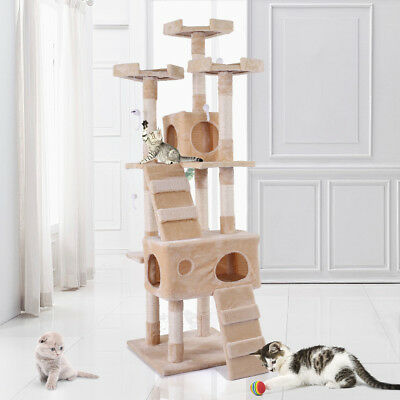 """New 67""""Cat Tree Tower Condo Furniture Scratching Post Pet Kitty Play House Beige"""