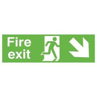 Signs and Labels Safety Sign Fire Exit Running Man Arrow Down/Right FX04111R