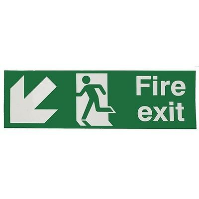 Safety Sign Fire Exit Running Man Arrow Down/Left 150x450mm Self-Adhesive E97SS