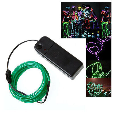 3x(3M Flexible Neon Light Wire Rope Tube with Controller (Green) SY
