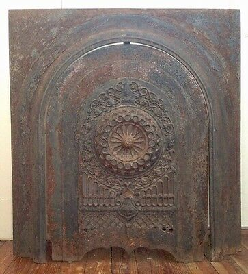 19th Century Cast Iron Fireback Surround w/ Ornate Motifs & Scrollwork RARE
