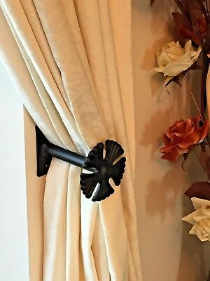 (CHB6)  1 Pair of Hand Forged Wrought Iron Holdbacks (Large Rosette Ends).