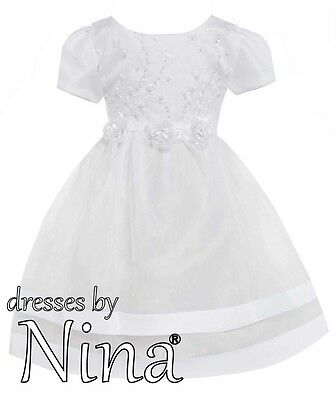 White First Holy Communion Dress Sleeves Flower Girl Party Frock 3 Yrs To 8 Yrs