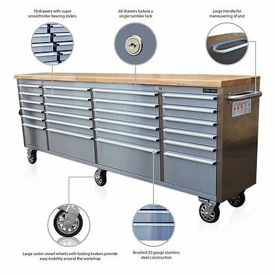 """299 Us Pro Tools Tool Chest Cabinet Box Bench Stainless Steel 96"""" Finance Option"""
