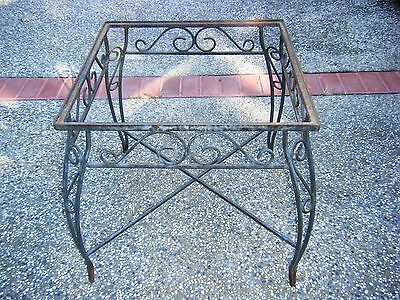 Vintage Wrought Iron Metal Square Table Base