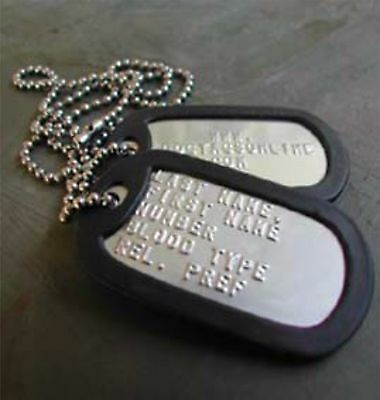 2 Military Dog Tags - Custom Embossed Stainless - GI Identification w/ Silencers