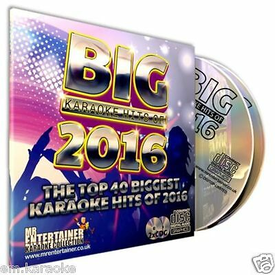 Mr Entertainer BIG Karaoke Hits of 2016. Double CD+G Disc Set. 40 Top Chart Hits