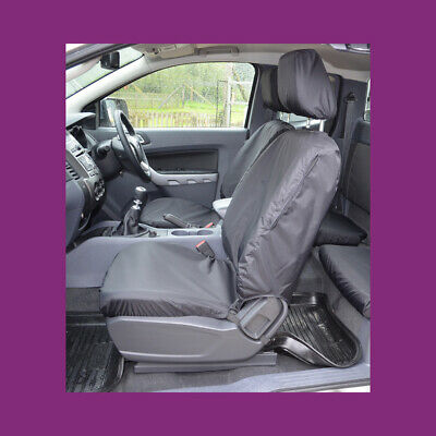 Ford Ranger Wildtrack 2016+ Tailored & Waterproof Front Pair Black Seat Covers