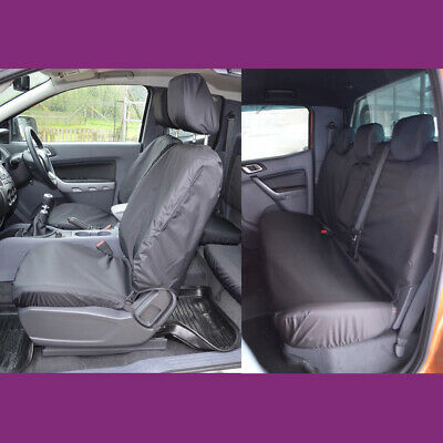 Ford Ranger Wildtrack Double Cab 2016+ Waterproof Front & Rear Black Seat Covers