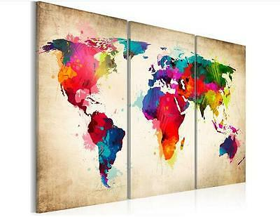 Modern Oil Painting Wall Decor Art Huge abstract - Colourful World Map No Frame