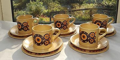 Staffordshire Ironstone Kiln Craft Bacchus Vintage Retro  5 x Cups Saucers Plate