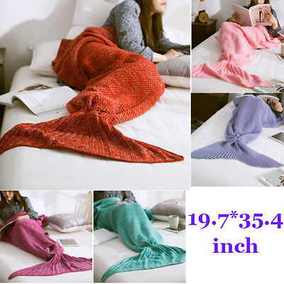 Mermaid Tail Blanket Warm and Soft Blankets for Kids Hand-Crocheted Bedding Wrap