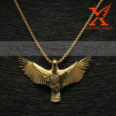 Male Fashion Titanium Steel 18K Gold Plated Charm Eagle Pendant Box Chain 24""