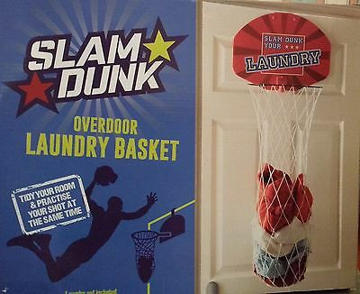 New Slam Dunk Childrens Over Door Storage Laundry Basketball Basket