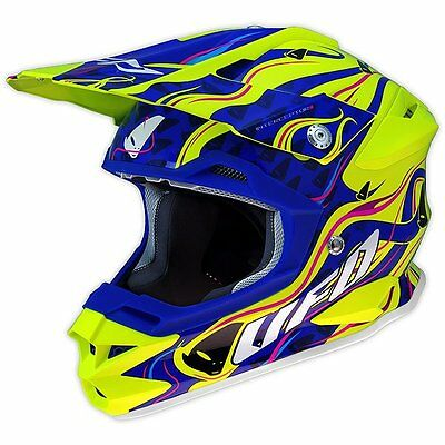 Size M - Helmet UFO Mx Interceptor Sierra Fluorescent Yellow Blue Cross Enduro