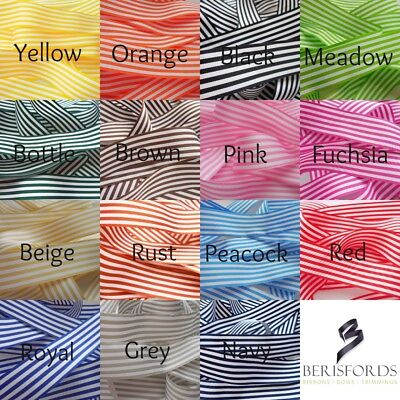 Berisfords 25mm Stripe Ribbon 15 Colours 4 Lengths to Choose From