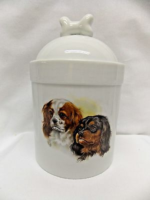 Cavalier King Charles Spaniels Dog Porcelain Treat Jar Fired Head Decal 8 In T