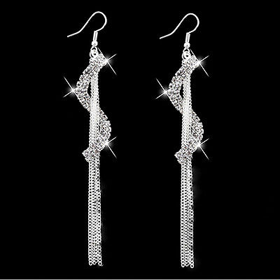 Long Drop Earrings Diamante Bridal Tassel Rhinestone Silver Dangle Crystal Party