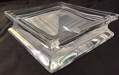 Daum Crystal Art Deco France French Frosted Table Ashtray Square