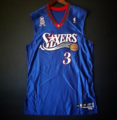 100% Authentic Allen Iverson 01 02 Sixers 76ers Pro Cut Jersey 46+2