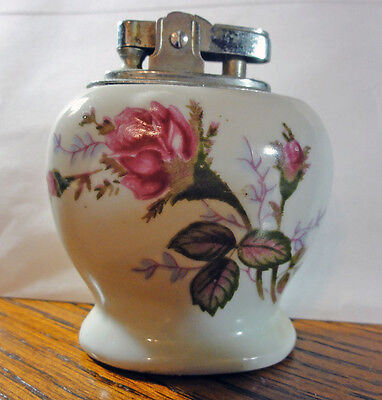 Moss Rose Cigarette Lighter Vintage Porcelain China Table Top Lighter Japan