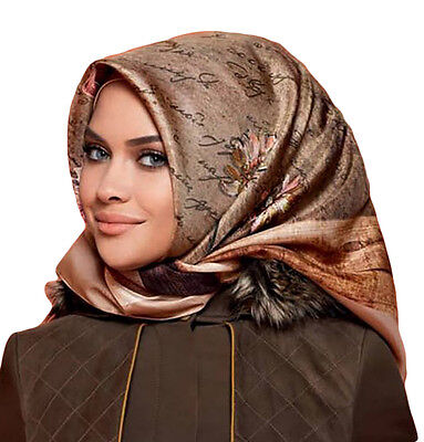 Turkish Armine Silk Hijab Scarf Fall 2016 - Winter 2017 #7506 Brown