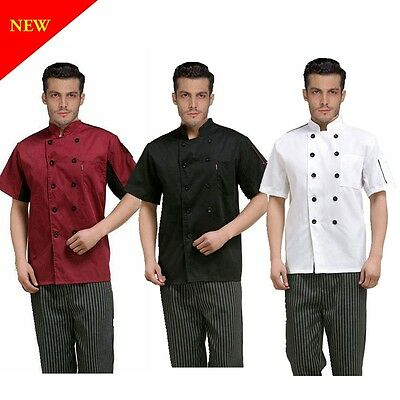 Chef Jacket Coat Chef Uniform Kitchen Men's Short Sleeve Cooker Restaurant Work