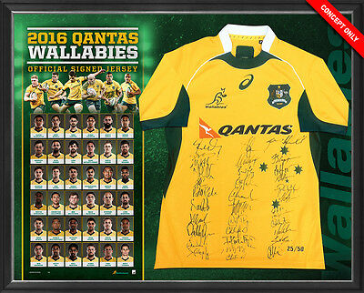 2016 Wallabies Squad Signed Jersey - Official ARU - Ltd Edt 50 Framed