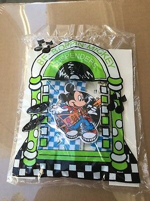 Avon Be-Boppin' Mickey Mouse Suspenders Blue & White  Checkered Disney New