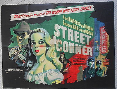 Street Corner, RARE Original UK Quad Poster, Anne Crawford, Peggy Cummins, '53