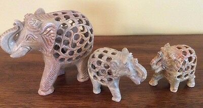 Marble Stone Lattice Hand Carved Lucky Elephants Family of 3 Home Decor Gift Art