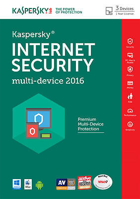 KASPERSKY INTERNET SECURITY 2016 MULTI DEVICE - 3 PC USER - NEW - Download