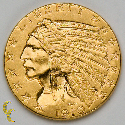 1910 $5 Gold Indian Head Half Eagle Coin (About Uncirculated Condition)
