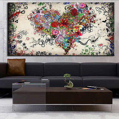 Modern Abstract Oil Painting Wall Decor Art Huge -Colorful Creative Heart-shaped