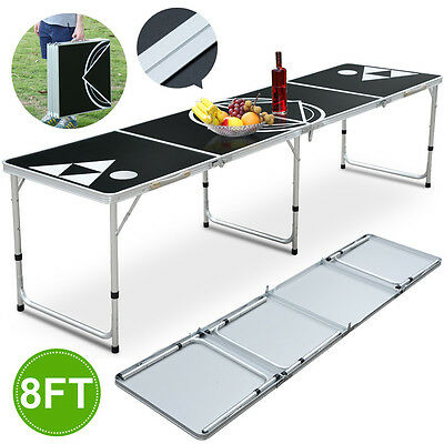 New 8Ft Folding Beer Pong Table Portable Lightweight & Easy Wipe Surface Black