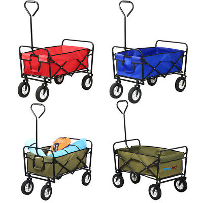 Folding Wagon Collapsible Cart Garden Buggy Shopping Sports Red/Blue