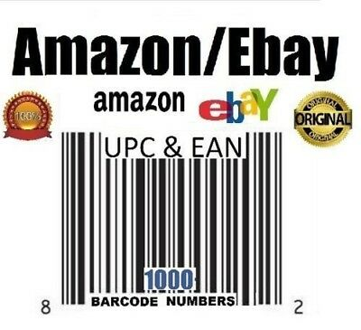 1000 UPC EAN Numbers Barcodes Bar Code Ebay Amazon US UK EU Lifetime Guarantee