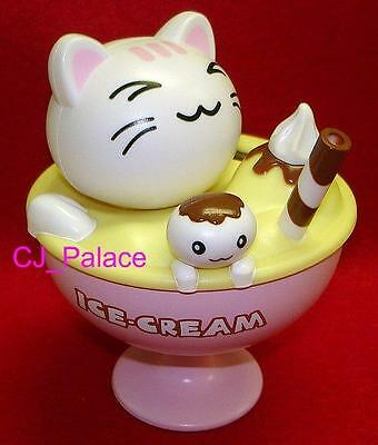 Flip Flap Solar Powered Ice-Cream Cat Maneki Neko Cat