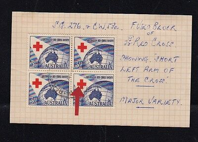 "Australia Stamps, Missing ""red Cross"" Short Left Arm Of Cross,major Variety"