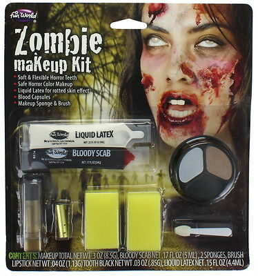 Halloween Zombie Makeup Kit With Bloody Scab, Makeup, Latex & Tooth Black