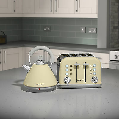 Morphy Richards 102032 & 242033 Accents Kettle & 4 Slice Toaster Set - Cream NEW