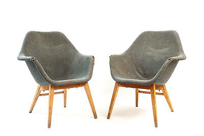 Set of Blue/Grey 1970's Bucket Chairs