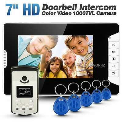 "Wired 7"" Color Video Door Phone Doorbell Intercom Security System with 1 Monitor"
