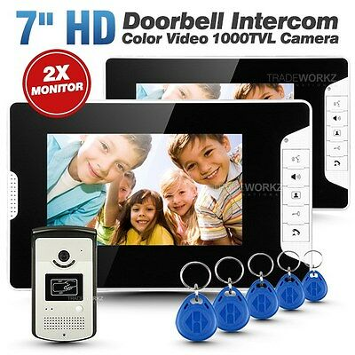 "Wired 7"" Color Video Door Phone Doorbell Intercom Security System with 2 Monitor"